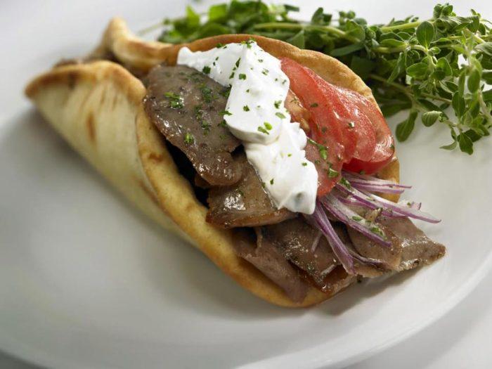 Greek Burrito lunch.