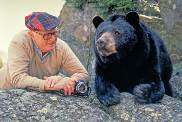 Hugh Morton with Mildred the Bear.