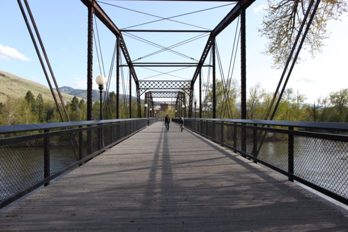 3. A pedestrian bridge in Missoula, perfect for an evening stroll.