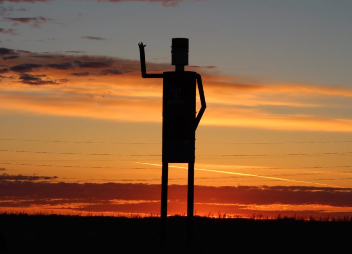 4. Robot invasion? Nope - an interesting character made of tin out near Edgeley.