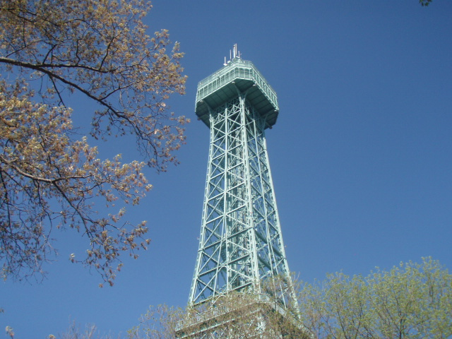 The 332-ft Eiffel Tower replica was around during the park's early years.