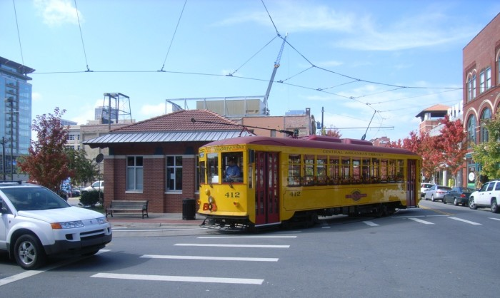 Here's a trolley servicing the river market district: