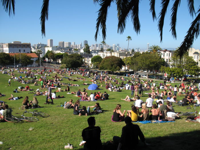 9. Play hooky on a warm day and bask in the sun at Dolores Park.
