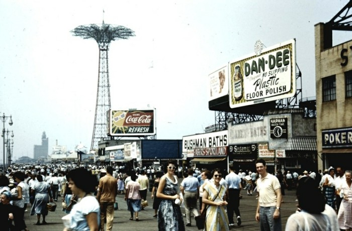 7. The exciting place to be, Coney Island's boardwalk in 1954.