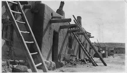 3. This photo depicts the north side of Jemez Pueblo.  Ladders like these ones were used to climb from one floor to the next.