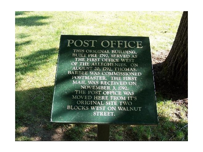 7. First U.S. post office located west of the Allegheny Mountains