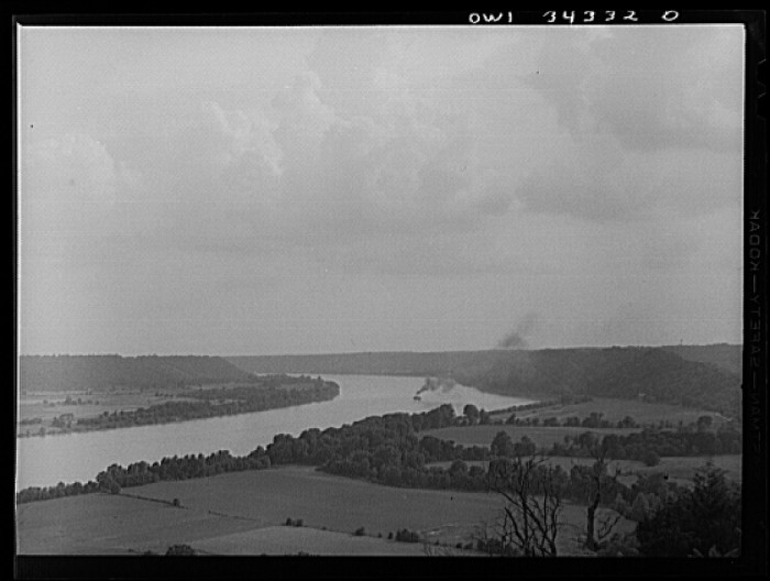 7. Part of the Ohio in Jefferson County in 1943. There were a lot less factories.