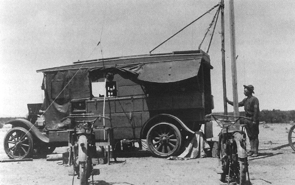 9. Radio technology has changed a lot since the radio tractor (picture from 1916). This mobile device was used by the Signal Corps for communications.