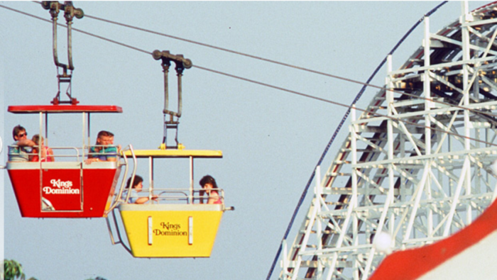 """Cable cars would transport guests from """"Old Virginia"""" to other themed areas."""