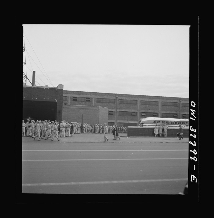 9. Soldiers gathering in Louisville to return to Fort Knox in 1943.