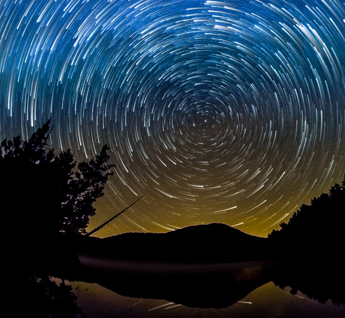 5. One of the best parts about camping in the Adirondacks, here you see star trails over the gorgeous mountainous region at Heart Lake.