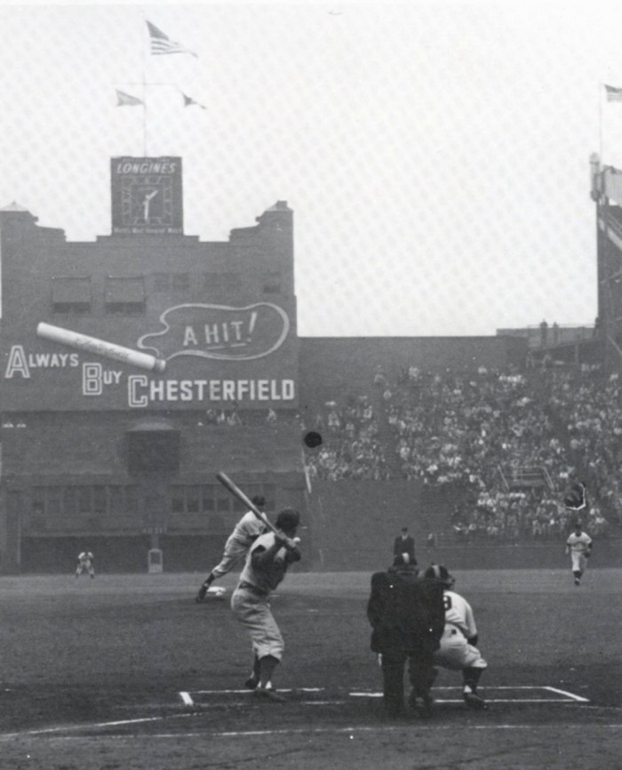 5. Pictured at The Polo Grounds, here you can see the first pitch of the 1951 World Series.