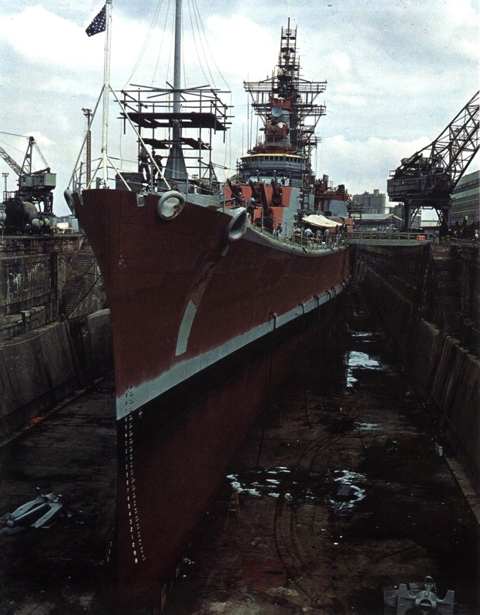 13. The USS Newport News at the Norfolk Navy Yard, (1965)
