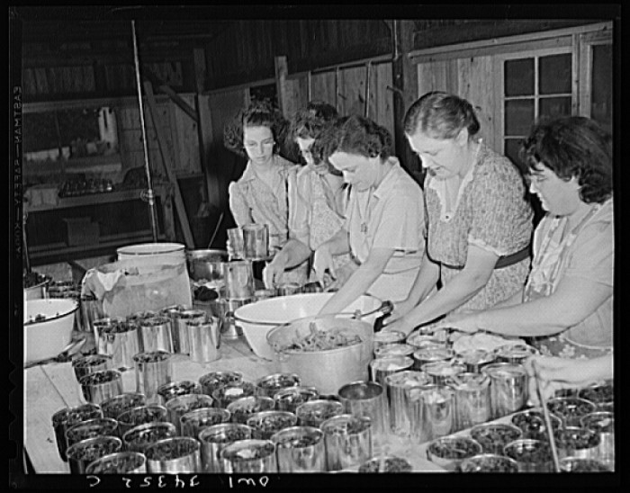15. Women canning together at the cannery.