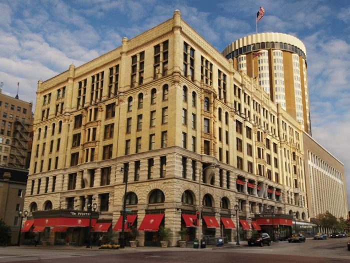 1. Start by checking into the historic Pfister Hotel.