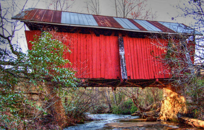 campbells covered bridge from creek