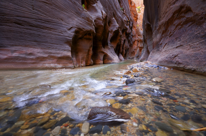 7. The canyon was carved over a million years by flowing water.