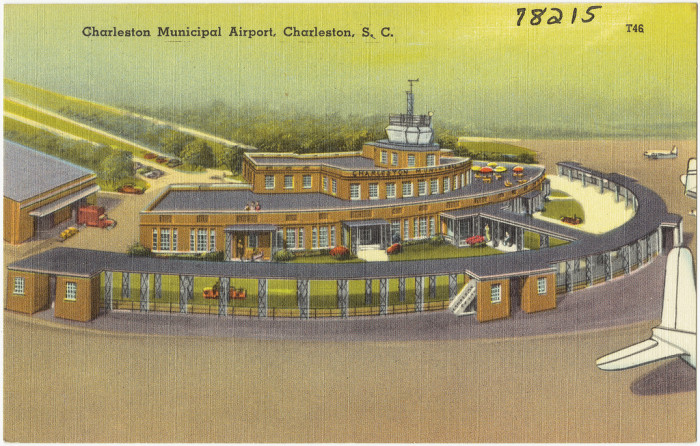 9. This postcard was issued from 1930-45. Don't you wish you could still fly in or out of the Charleston airport this easily? But, where's the parking lot?