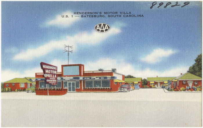 4. Stay in a place as cool as Hendersons Motor Villa in Batesburg, shown here as it was in 1957.