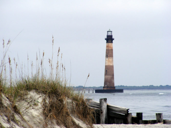 7. Morris Island Light - Located north of Folly Island. Coordinates: 32°41′43″N 79°53′1″W