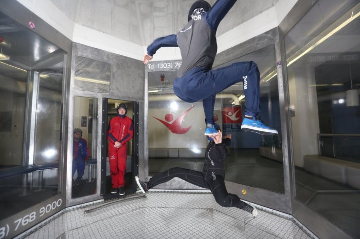 5. Not looking to spend your rained out day doing something boring? Try pumping up your adrenaline and taking a step inside an indoor skydiving zone.