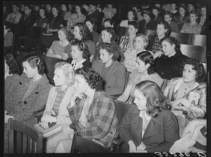 7. High school girls at an Americanization school assembly in Eufaula. Taken in 1940.