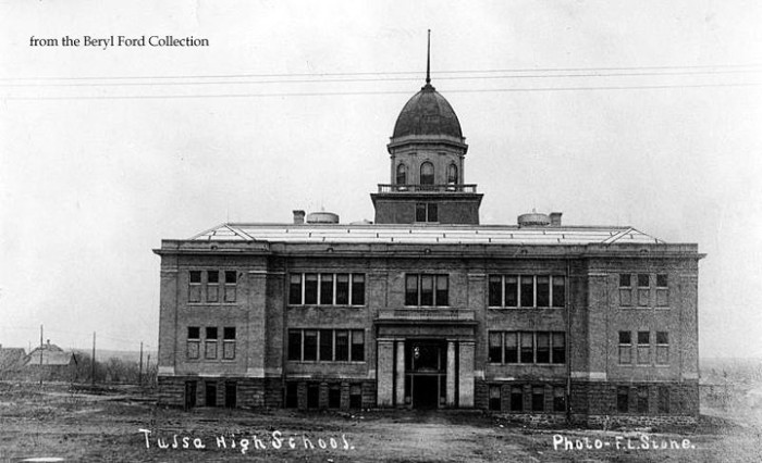 "2. Located on the ""outskirts of town"" at 4th and Boston, Tulsa High School opened in 1906. At this time there were no sidewalks or paved streets and students (literally) got stuck in the mud. It was torn down in 1915 and a new one was built to accommodate the influx of students from the oil boom."