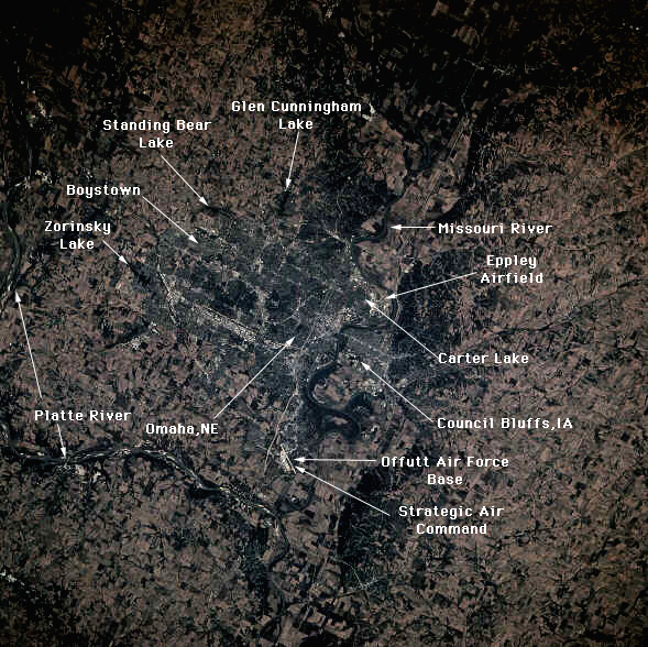 11. Omaha from space. Our biggest city looks so tiny - but so crammed full of man-made objects - from all the way up there.