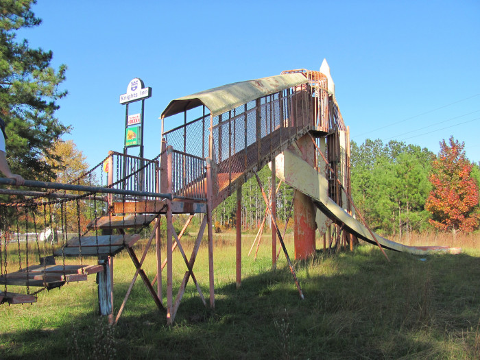 10. This playground looks like at one point it was both fun AND safe. It was photographed about five years ago at an abandoned motel off I-95 in South Carolina.