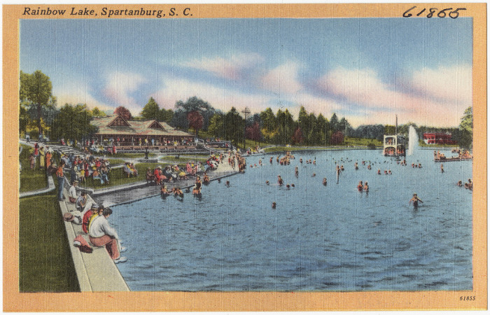 11. Swim in Rainbow Lake. From 1929-1967 Rainbow Lake was a popular swimming area and family outing spot near Spartanburg.
