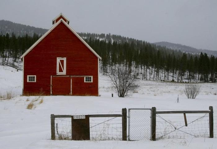 6.  Red Barn in Winter