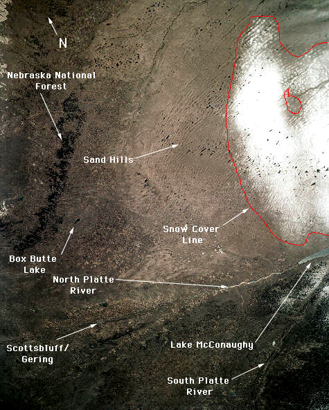 14. Another image of the Sand Hills again shows the distinctive land patterns of the dunes. Tons of small lakes are nestled in the dunes, and some of them can be seen as white spots here due to snow on top of their frozen surfaces.