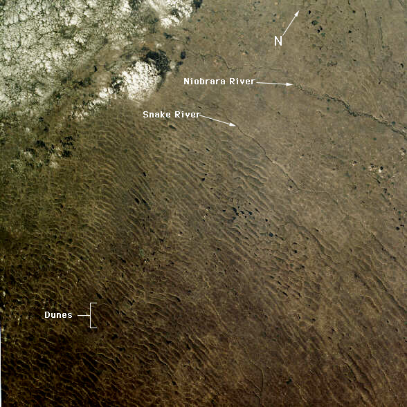 15. Yet another Sand Hills image - maybe the unusual topography is a favorite among astronauts. This one was taken in October 1984. The Niobrara and Snake Rivers can also be seen.