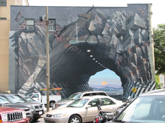 "11. The ""Tunnel Vision"" mural painted by artist Blue Sky in Columbia."