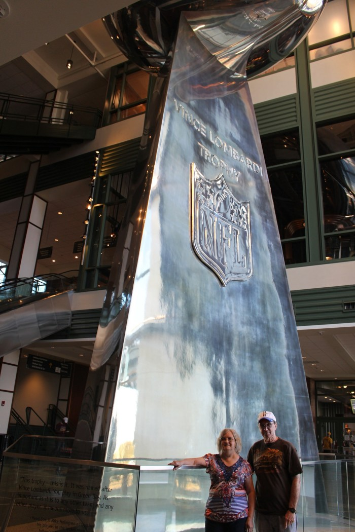 3. The stadium is home to a 50 foot replica of the Lombardi Trophy.