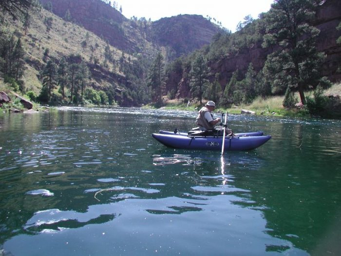 1. Fishing from a pontoon on the Green River.