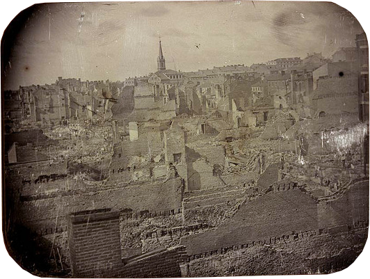 Ruins of the St. Louis Fire of 1849. Daguerreotype by Thomas Martin Easterly.