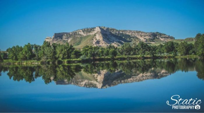 3. Scotts Bluff Monument is incredible reflected in the water.