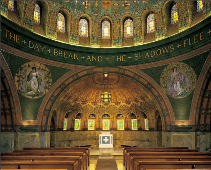 When the chapel was completed in 1910, it was the only one in the country with an authentic mosaic interior. The 4 mosaic figures represent  love, hope, faith and memory, and were based on paintings by Ella Condie Lamb.
