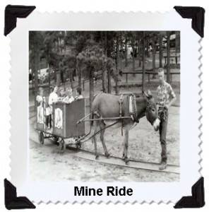 """""""Did you know 1958 brought Santa's Workshop's first """"rides""""?!? The Mine Ride was the first to be added to the park!! Later in the season the Stage Coach and an authentic Fire Engine were featured."""""""