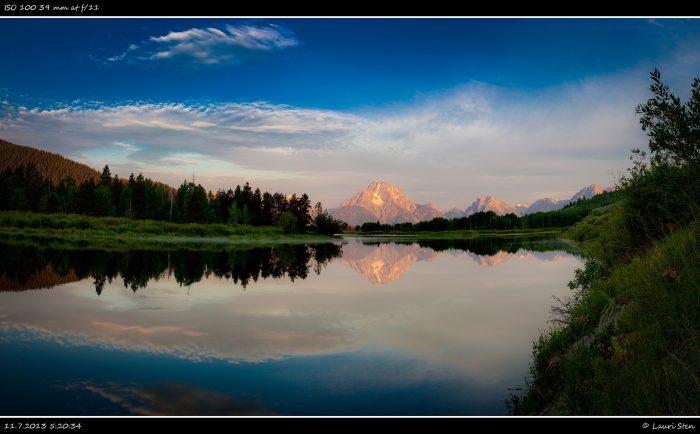 11. Sunrise at Oxbow Bend gazing at Mount Moran.
