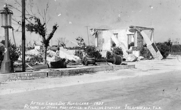 The remains of the post office and a gasoline filling station in Islamorada after the 1935 Hurricane.