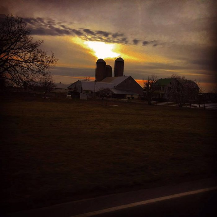 10. The majestic sun sets behind a barn on a Pennsylvania farm in this photo, taken by Ivan Reiff.