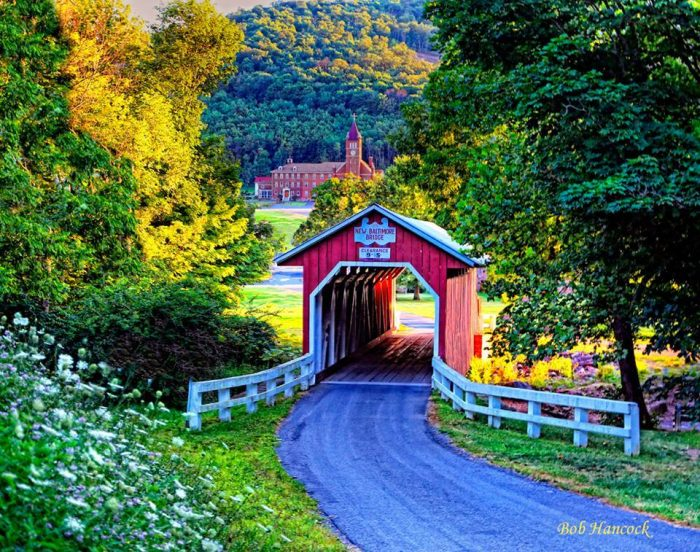 3. One of Pennsylvania's many quaint covered bridges blends in with its colorful surroundings in New Baltimore.