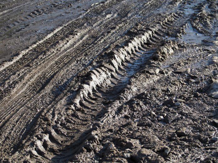 10.  Dirt roads during mud season.