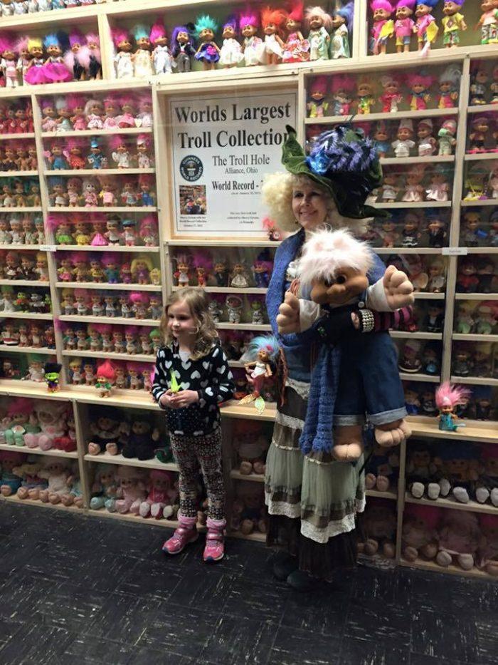 """Trolls of various sizes, styles and decades line the walls of this two-story museum.  Visitors can even take a 45-minute tour of the gallery, lead by Sigrid, the """"Troll Queen."""""""