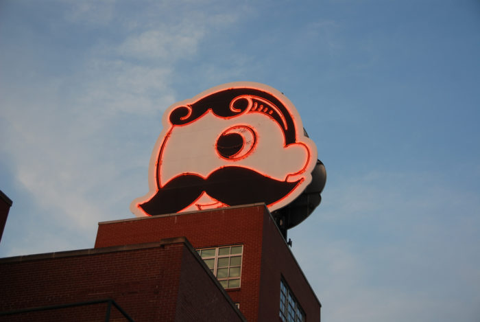 11. Mr. Boh pridefully watches over Baltimore with his fancy mustache and neon glow.