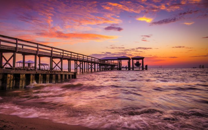 7. What a gorgeous sunset view of Battles Wharf in Fairhope!