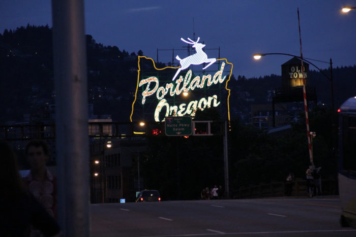 4. They drive really slowly across the bridge to take a photo of the iconic Portland, Oregon sign.