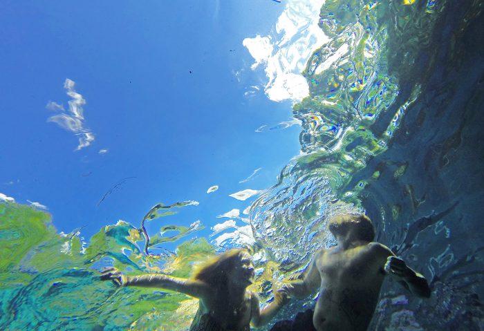 17. The crystalline waters of Ichetucknee Springs look like rippled glass from below the surface.